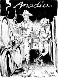 Arte ORIGINAL de Tex e Carson nas Caves Bairradinas de Anadia, numa belíssima arte de BRUNO BRINDISI devidamente dedicada a José Carlos Francisco.jpg